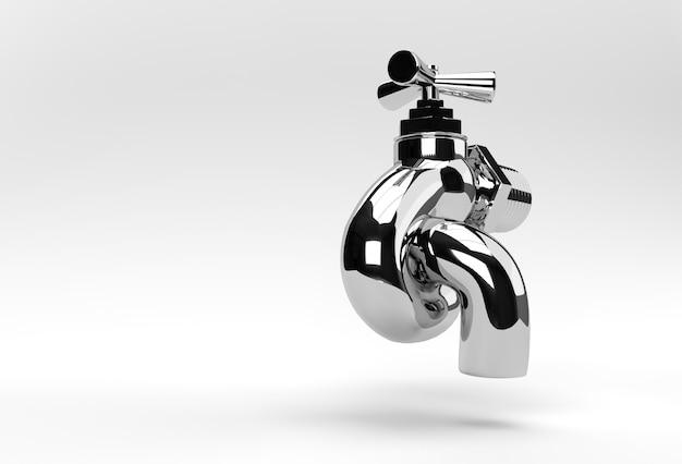 3d render chrome tap con un flusso d'acqua isolato su bianco 3d'illustrazione.