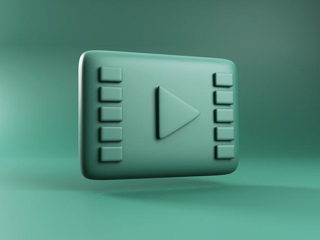 Rendering 3d dell'icona di riproduzione del cinema. servizio di video streaming online on demand. icona del video in diretta