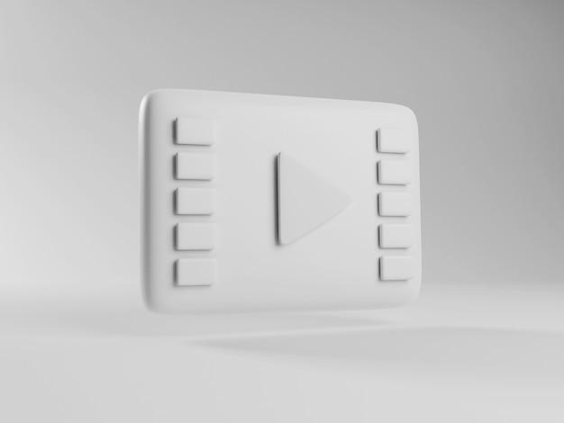 Rendering 3d dell'icona di riproduzione del cinema. servizio di video streaming online on demand. icona bianca del video live