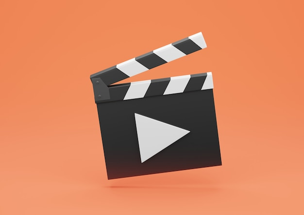 Rendering 3d ciak o ardesia di pellicola con pulsante di riproduzione su sfondo arancione.