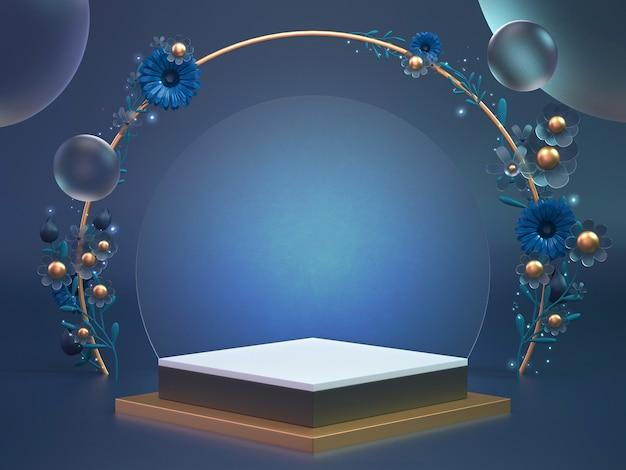 Rendering 3d sfondo di podio blu classico per prodotto cosmetico o un altro oggetto. 3d display sfondo oggetto decorare con fiori.