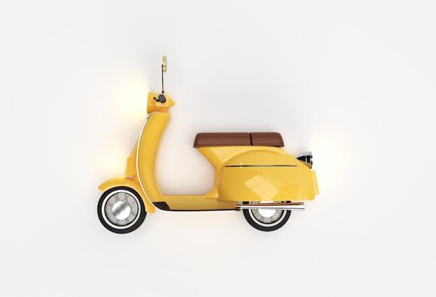 3d render classic motor scooter vista laterale su uno sfondo bianco.
