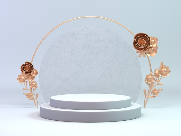 Rendering 3d classico podio bianco e oro per cosmetici o qualsiasi oggetto decorare con anello di fiori. prodotto di visualizzazione dell'oggetto in background.