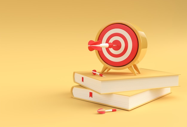 Orologio di rendering 3d con libri in stile minimal illustrazione.
