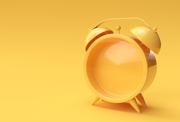 3d render close up sveglia vuota su sfondo giallo design.