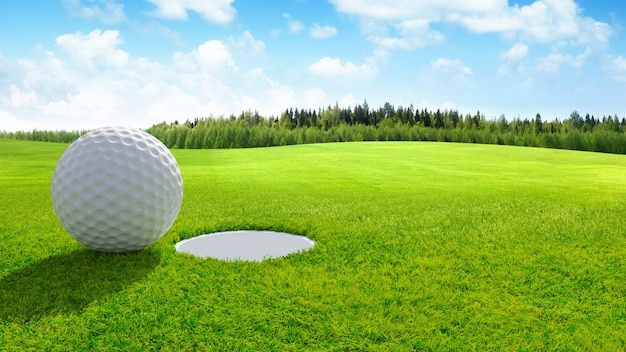 3d rendono chiuda su di palla da golf su verde nel campo da golf. sfondo sportivo.