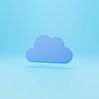 Rendering 3d. una nuvola sospesa nell'aria. icona di rendering 3d nuvola alla moda isolata su sfondo blu