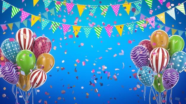 3d rende palloncini colorati e decorazioni per feste con sfondo blu e spazio di copia