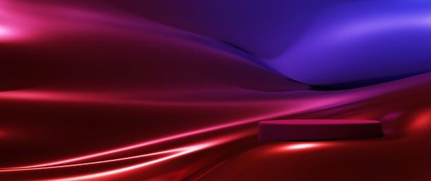 Rendering 3d di stoffa colorata e podio. priorità bassa di modo di arte astratta. vetrina della piattaforma scenica, prodotto, presentazione, cosmetico sul podio.