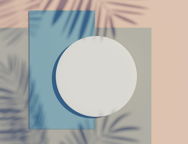 3d rende forme geometriche colorate con ombre di foglie di palma e sfondo pastello