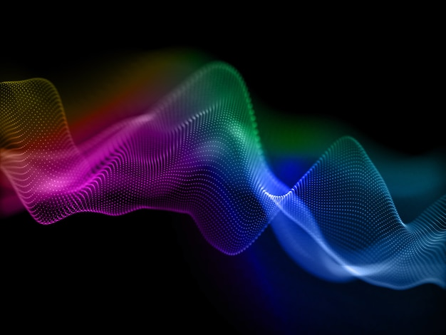 Rendering 3d di uno sfondo colorato con particelle cibernetiche fluenti