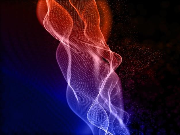 Rendering 3d di un design colorato con particelle fluenti