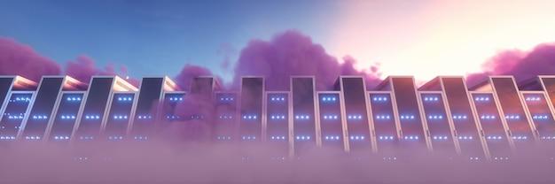 Il computer di rendering 3d serve nel banner di sfondo delle nuvole viola