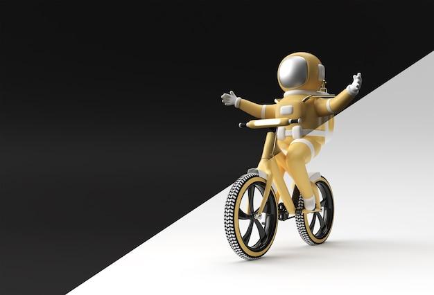 Rendering 3d concetto di bicicletta astronauta 3d art design illustrazione.