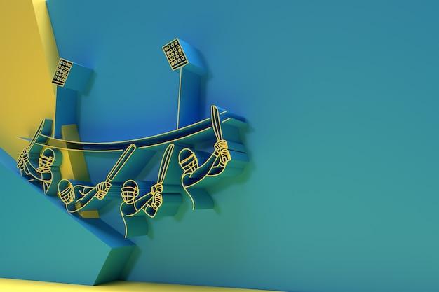 3d render concetto di battitore che gioca a cricket - campionato, 3d art design poster illustrazione.
