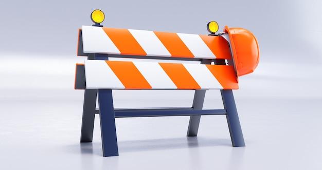 Rendering 3d in costruzione concetto con barriera stradale e casco su sfondo bianco