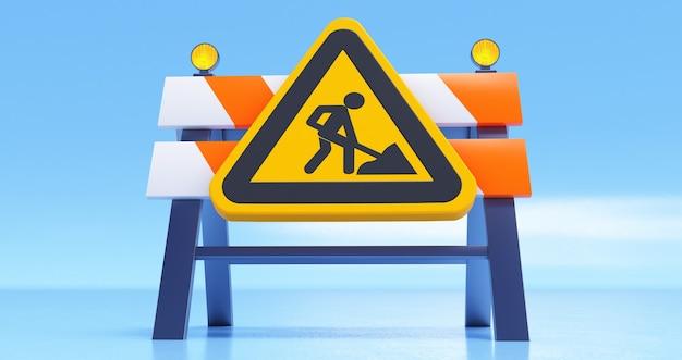 Rendering 3d in costruzione concetto con barriera stradale e segno su sfondo blu