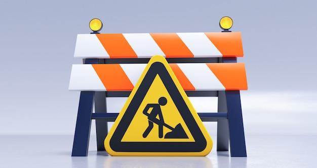 Rendering 3d in costruzione concetto con barriera stradale e segno su sfondo bianco