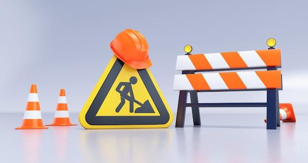 Rendering 3d in costruzione concetto con barriera stradale, cartelli, casco e coni su sfondo bianco