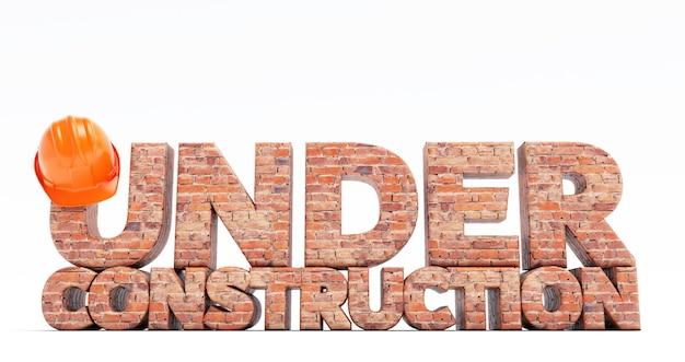 Rendering 3d testo in costruzione con effetto mattoni e casco arancione su sfondo bianco