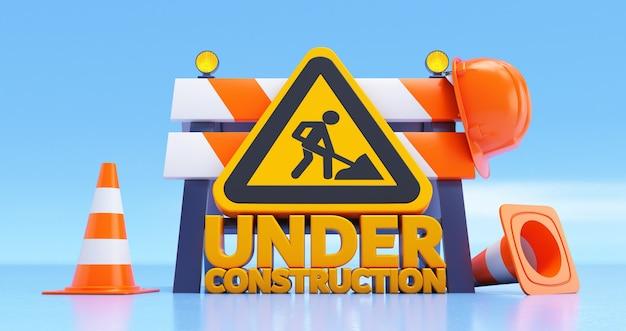 Rendering 3d in costruzione testo con barriera stradale, cartelli, casco e coni su sfondo blu