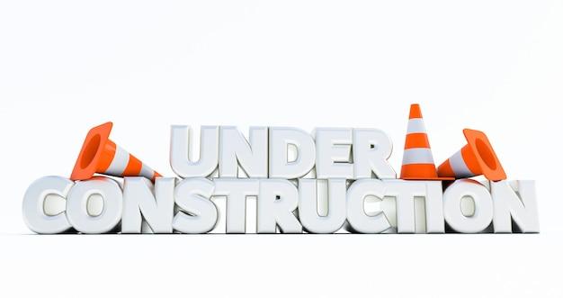Rendering 3d di in costruzione con coni stradali isolati su sfondo bianco