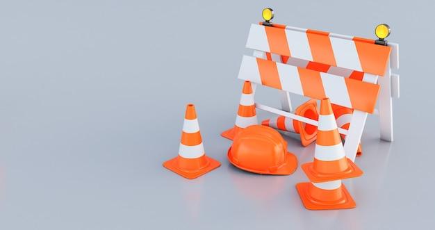 Recinto di costruzione di rendering 3d, coni stradali e casco arancione su sfondo grigio