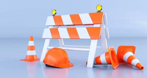 Recinto di costruzione di rendering 3d, coni stradali e casco arancione su sfondo chiaro