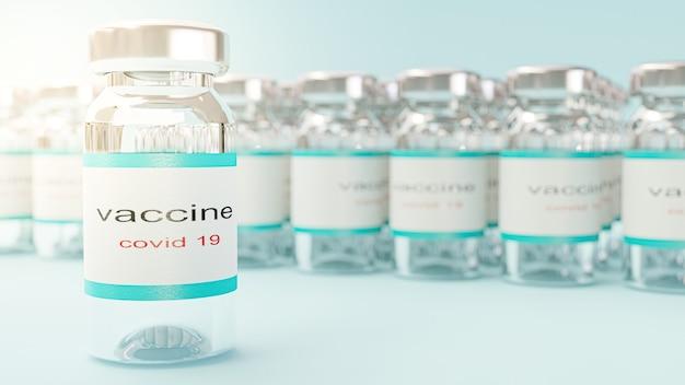 Rendering 3d. vaccinazione con bottiglia di vaccino contro il coronavirus covid-19.