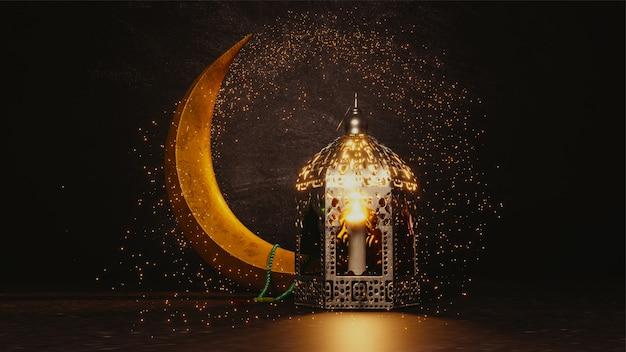 Rendering 3d della luna crescente con effetto glitter