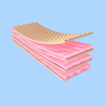 Rendering 3d fragola wafer croccante