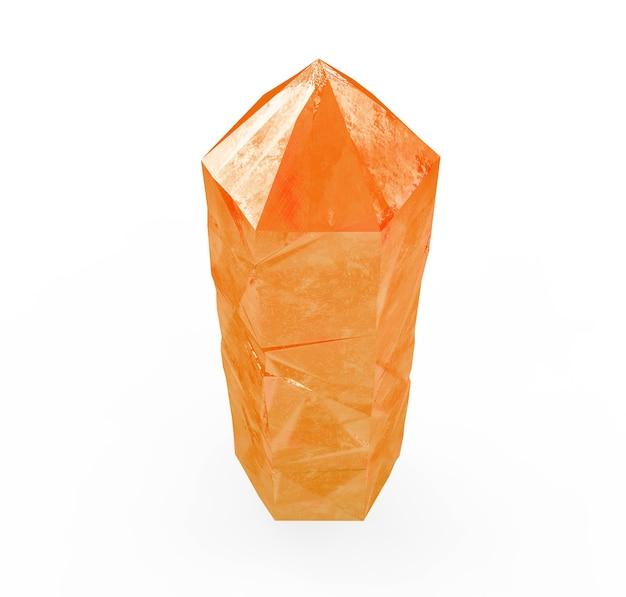 Rendering 3d, cristallo isolato su sfondo bianco, gemma, pepita naturale, accessorio esoterico