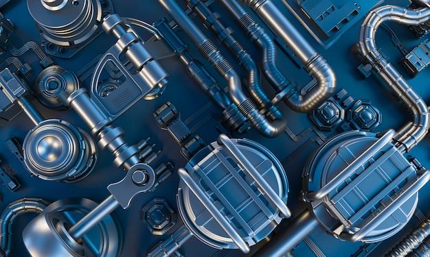 Rendering 3d sfondo scuro in tonalità blu della trama fantascientifica astratta con cavi, tubi e parti elettroniche.