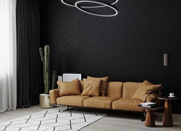 Rendering 3d di un soggiorno buio con un divano in pelle marrone, una pianta e un tavolino da caffè