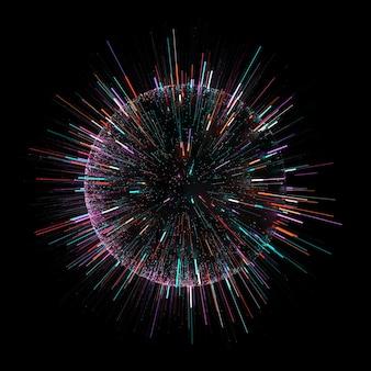 Il rendering 3d della sfera scura con particelle colorate viene emesso da. concetto di tecnologia veloce. velocità di trasferimento delle informazioni.
