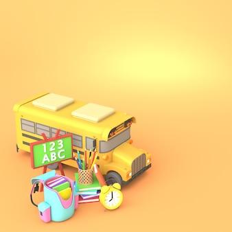 Progettazione di rendering 3d di strumenti di scuola volante con spazio di copia