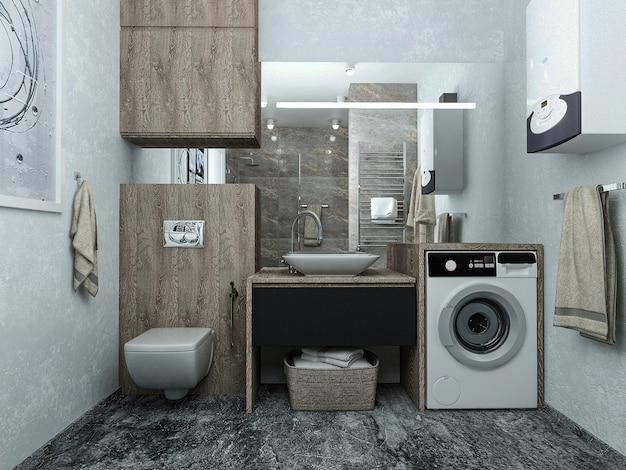 Rendering 3d. progettare il bagno interno.