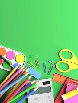 3d render design di strumenti scolastici con spazio di copia