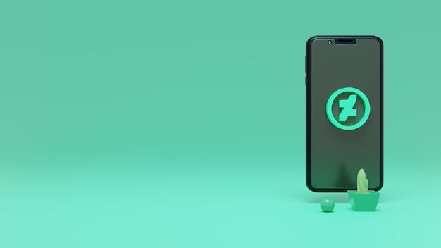 Rendering 3d del logo deviantart sul cellulare
