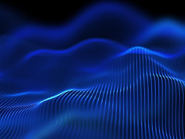 Rendering 3d di uno sfondo techno digitale di linee fluide