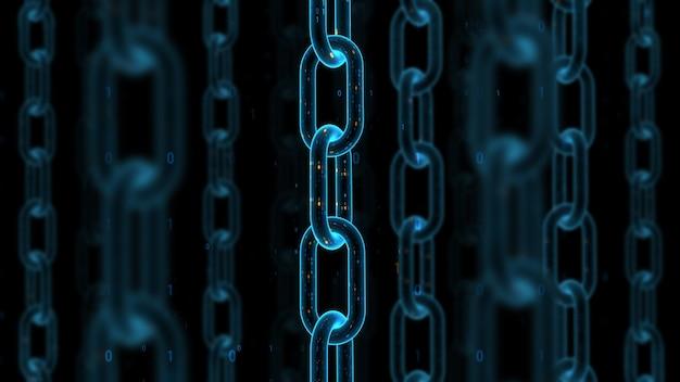 3d rendono il fondo dell'estratto di tecnologia digitale. concetto di blockchain. catena con trama binaria animata. profondità di campo. rotazione loopable degli elementi.