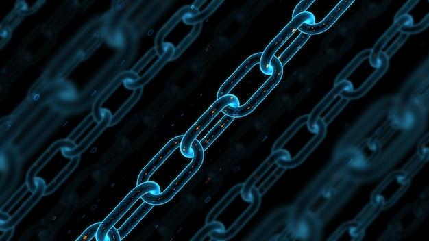 3d rendono il fondo dell'estratto di tecnologia digitale. concetto di blockchain. catena con struttura binaria. profondità di campo.