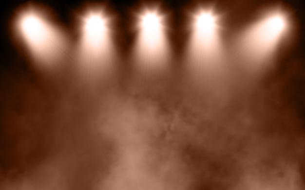 Rendering 3d di uno sfondo del display con atmosfera fumosa grunge con faretti