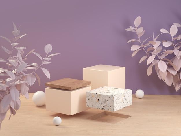 3d rendering display galleggiante sul pavimento in legno viola pastello illustrazione dello sfondo