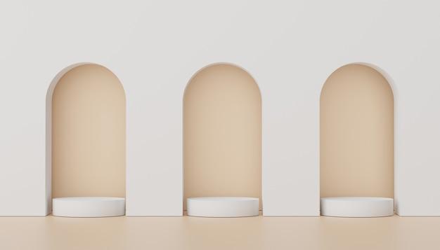 Podio di visualizzazione di rendering 3d per la presentazione di prodotti e cosmetici. scena minima per la pubblicità.