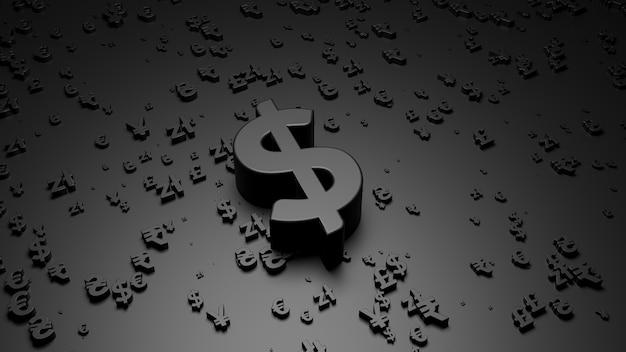Rendering 3d del simbolo del dollaro sulla superficie nera