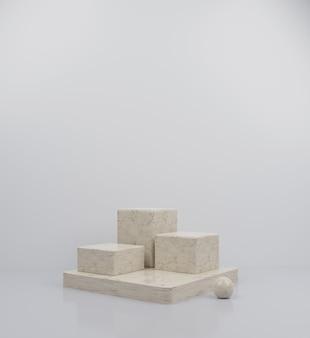3d rendono l'illustrazione elegante del fondo dell'estratto della raccolta del podio di marmo del cubo 3
