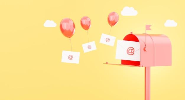 Rendering 3d di busta di posta elettronica e concetto di cassetta postale
