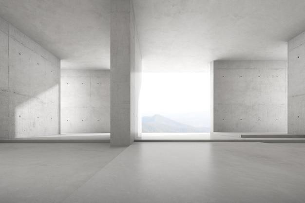 Rendering 3d di una stanza vuota in cemento con una grande struttura a parete sullo sfondo della natura.