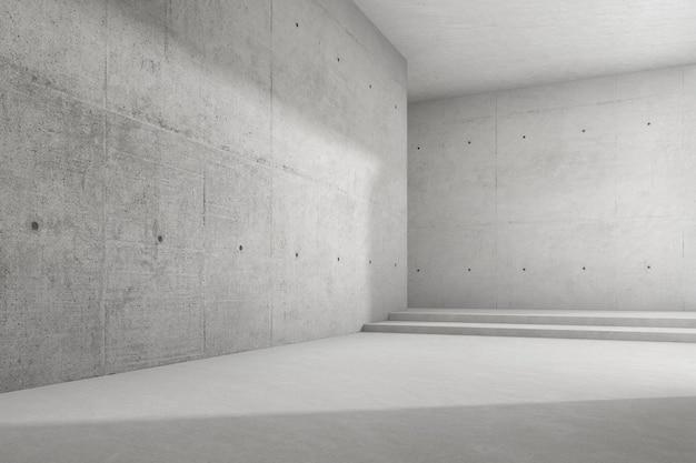 Rendering 3d di una stanza vuota in cemento con una grande struttura a parete.